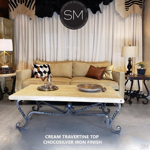 Twist Wrought Iron Coffee Table Exotic Rectangular Cream Travertine Top-Rectangular Coffee table-Mexports By Susana Molina -60