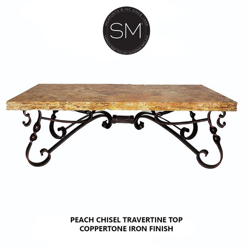 Chic Western Coffee Table Rectangular Peach Travertine Top Scroll Legs-Rectangular Coffee table-Mexports By Susana Molina-Peach Chisel Travertine-Dark Rust Brown-Mexports® Inc by Susana Molina