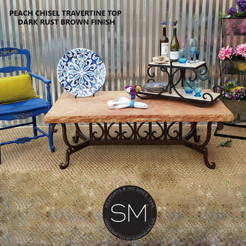 Modern Rectangular Travertine Coffee Table | Wrought Iron Base-Rectangular Coffee table-Mexports By Susana Molina -60