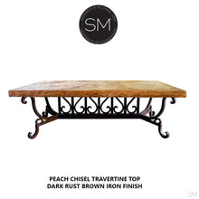 Modern Rectangular Travertine Table | Wrought Iron Base-Mexports By Susana Molina -Mexports® Inc by Susana Molina