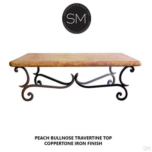 "Wow Contemporary Coffee Table Elegant Rectangular Cream Travertine Top-Rectangular Coffee table-Mexports By Susana Molina -60""X32""-Peach Chiseled-Chocolate Espresso-Mexports® Inc by Susana Molina"