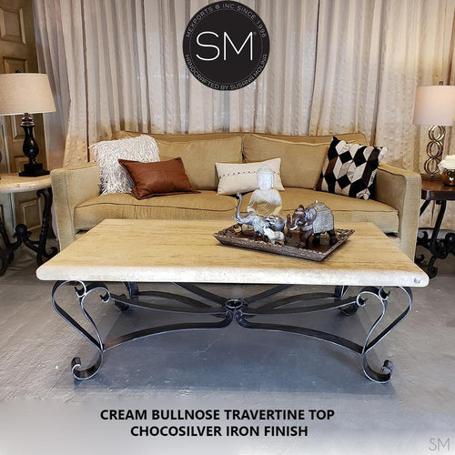 Elegant Coffee Table Rectangular Cream Travertine Top-Mexports By Susana Molina -Mexports® Inc by Susana Molina