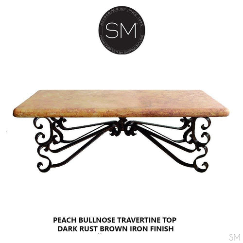 Ranch Style Coffee Table Accent Piece Rectangular Peach Travertine Top-Rectangular Coffee table-Mexports By Susana Molina-60