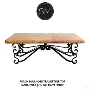 "Ranch Style Coffee Table Accent Piece Rectangular Peach Travertine Top-Rectangular Coffee table-Mexports By Susana Molina-60""X32""-Peach Chiseled-Vintage Silver-Mexports® Inc by Susana Molina"
