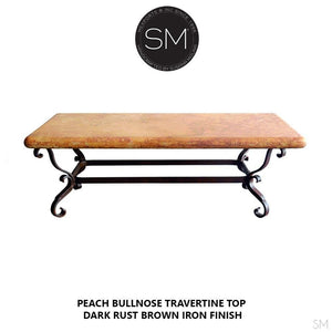 Mediterranean Pleasing Coffee Table w/ Rectangular Peach Travertine Top-Travertine coffee tables-Mexports By Susana Molina -Cream Chisel Travertine-Dark Rust Brown-Mexports® Inc by Susana Molina
