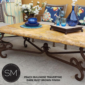 Rustic Outdoor Travertine Coffee Table | Wrought Iron Base-Mexports By Susana Molina -Mexports® Inc by Susana Molina