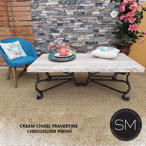 High End Coffee Table Ergonomic Plush Rectangular Travertine Cream Top-Mexports By Susana Molina -Mexports® Inc by Susana Molina