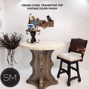 "Contemporary Bar Table delicately designed w/ cream Bullnose-Mexports By Susana Molina-38""-Cream Chiseled-Vintage Silver-Mexports® Inc by Susana Molina"