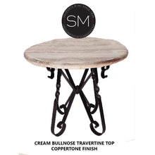 "Bistro Tall Table Easy-on-the-Eye w/ Round Peach Chisel Travertine Top-Kitchen & tall bar tables-Mexports® Inc by Susana Molina-38""Rd-Cream Bullnose-Dark Rust Brown-Mexports® Inc by Susana Molina"