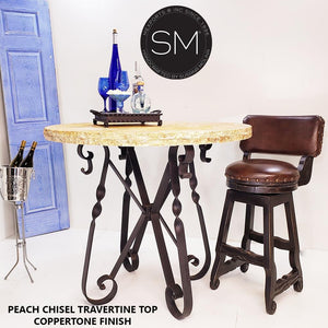 Bistro Tall Table Easy-on-the-Eye w/ Round Peach Chisel Top-Mexports® Inc by Susana Molina-Mexports® Inc by Susana Molina