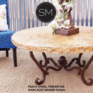 Travertine Round Coffee Table Model 1211 AAA - Mexports® Inc by Susana Molina