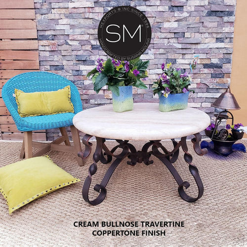 Travertine Round Coffee Table Model 1212 AAA - Mexports® Inc by Susana Molina