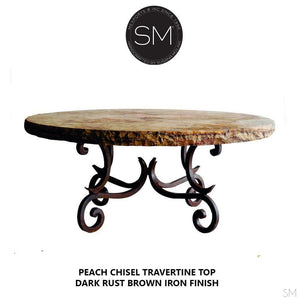 "Modern Natural Travertine Coffee Table | Round-Round Coffee tables-Mexports By Susana Molina -38""-Peach Chiseled-Chocolate Espresso-Mexports® Inc by Susana Molina"