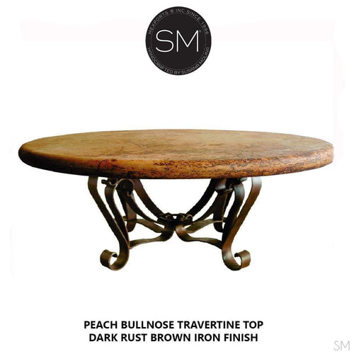 Modern Round Natural Travertine Coffee Table , Wrought Iron Base-Mediterranean style Coffee tables-Mexports By Susana Molina -38