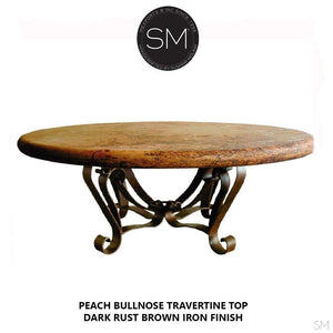 "Modern Round Natural Travertine Coffee Table , Wrought Iron Base-Mediterranean style Coffee tables-Mexports By Susana Molina -38""-Peach Chiseled-Chocolate Espresso-Mexports® Inc by Susana Molina"