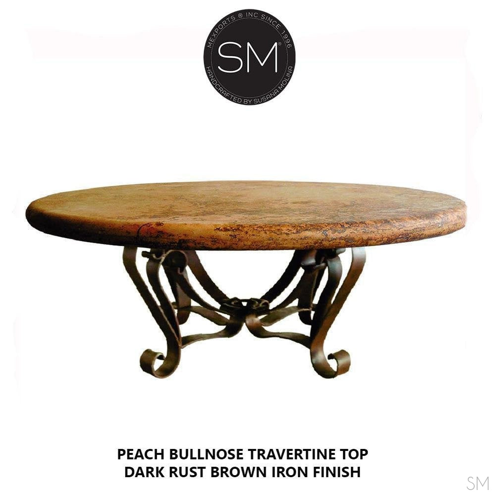 Round Natural Travertine Coffee Table-Mexports By Susana Molina -Mexports® Inc by Susana Molina
