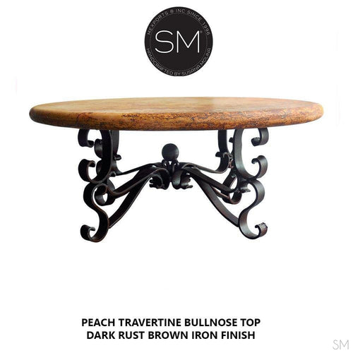 Rustic Travertine Coffee Table , Wrought Iron Base-Cocktail tables-Mexports By Susana Molina -38