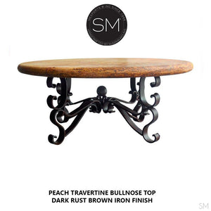 "Rustic Travertine Coffee Table , Wrought Iron Base-Cocktail tables-Mexports By Susana Molina -38""-Peach Chiseled-Vintage Silver-Mexports® Inc by Susana Molina"