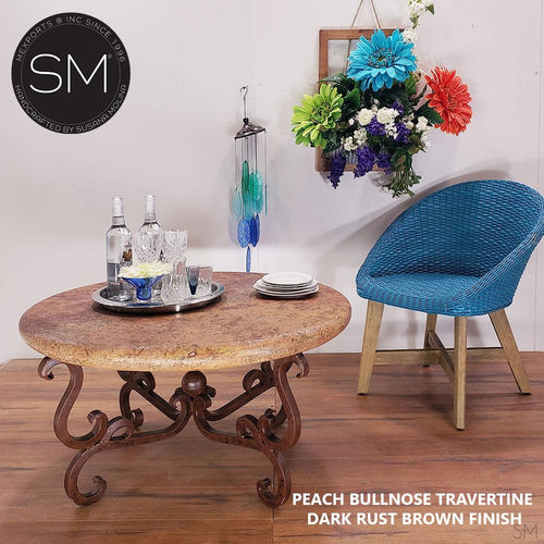 Contemporary Travertine Coffee Table , Wrought Iron Base-Cocktail tables-Mexports By Susana Molina -38