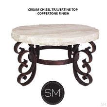"Modern Outdoor Coffee Table- Travertine Wrought Iron Base-Coffee Table-Mexports By Susana Molina -38""-Peach Chiseled-Vintage Silver-Mexports® Inc by Susana Molina"