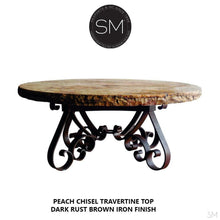 "Luxury Outdoor Furniture -Travertine Coffee Table w/ Wrought Iron Base-Mediterranean style Coffee tables-Mexports By Susana Molina -38""-Peach Chiseled-Chocolate Espresso-Mexports® Inc by Susana Molina"
