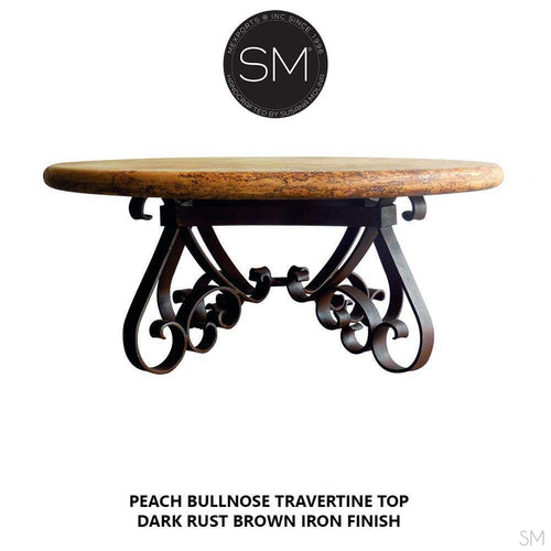 Luxury Outdoor Furniture -Travertine Coffee Table w/ Wrought Iron Base-Mexports By Susana Molina -Mexports® Inc by Susana Molina
