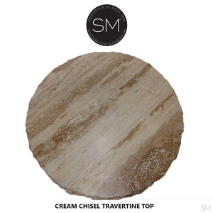 "Elegant Dining Table , Contemporaneous Cream Travertine Top-Round Dining table-Mexports By Susana Molina -48""-Peach Chiseled-Chocolate Espresso-Mexports® Inc by Susana Molina"