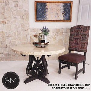 "Sumptuous Entailed Dainty Cream Round Dining Travertine Table-Round Dining table-Mexports By Susana Molina -48""-Peach Chiseled-Chocolate Espresso-Mexports® Inc by Susana Molina"