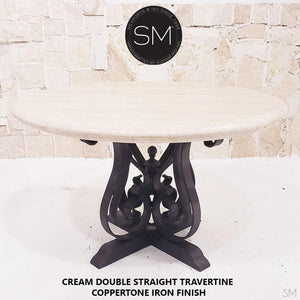 Sumptuous Entailed Dainty Round Dining Travertine Table-Mexports By Susana Molina -Mexports® Inc by Susana Molina