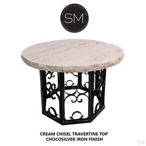 "Western Round Dining Table | Travertine | Wrought Iron-Round Dining table-Mexports By Susana Molina -48""-Peach Chiseled-Choco Silver-Mexports® Inc by Susana Molina"