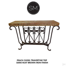 Travertine Small Console table made of vintage Handforged iron base - Travertine Stone top-Console tables - Entryway tables-Mexports By Susana Molina -Cream Chisel Travertine-Dark Rust Brown-Mexports® Inc by Susana Molina
