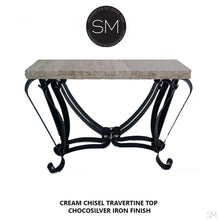 Modern and Contemporary Console table, made of travertine Stone top-Console tables - Entryway tables-Mexports By Susana Molina -Chisel Peach Travertine-Dark Rust Brown-Mexports® Inc by Susana Molina
