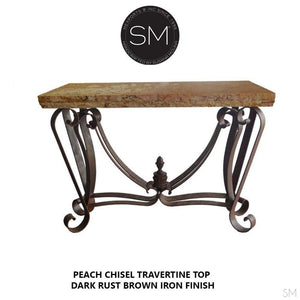 Modern and Contemporary Console table, made of travertine Stone top-Mexports By Susana Molina -Mexports® Inc by Susana Molina
