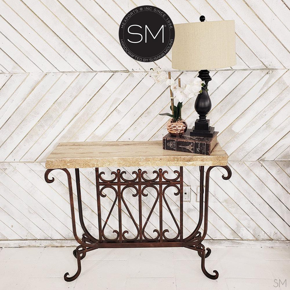 Travertine Small Console table made of vintage Handforged iron base - Travertine Stone top - Mexports® Inc by Susana Molina