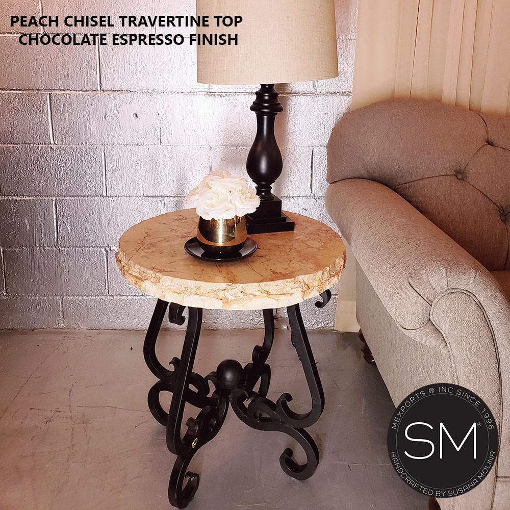 Small Occasional Table - Travertine w/ Wrought Iron Base-Side tables, End tables & Foyer tables-Mexports By Susana Molina -24
