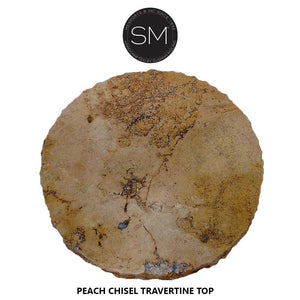 "Small Occasional Table - Travertine w/ Wrought Iron Base-Side tables, End tables & Foyer tables-Mexports By Susana Molina -24""-Peach Chiseled-Chocolate Espresso-Mexports® Inc by Susana Molina"