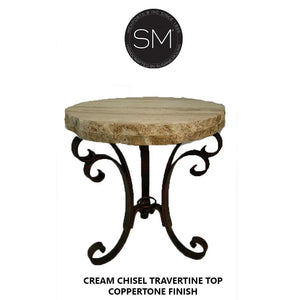 "Modern Small Occasional Table | Natural Travertine | Wrought Iron Base-Ocasional tables, side tables & foyer tables-Mexports By Susana Molina -24""-Peach Chiseled-Chocolate Espresso-Mexports® Inc by Susana Molina"