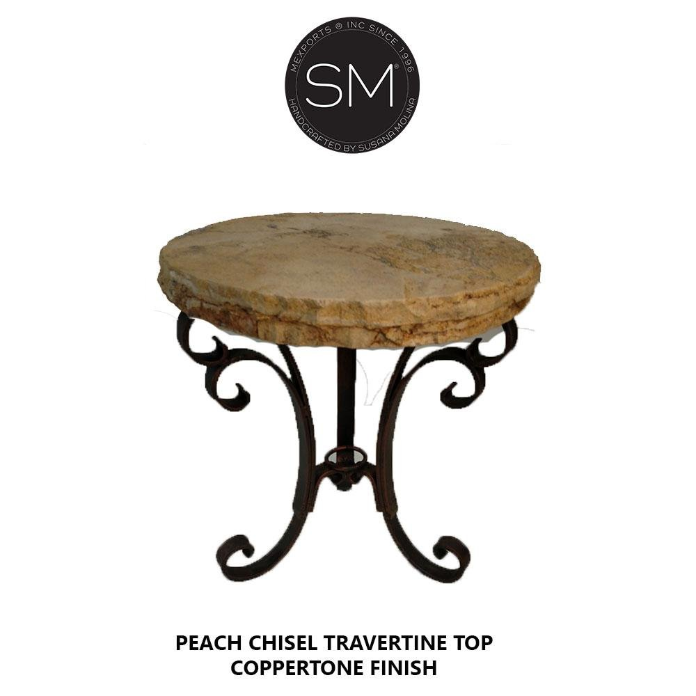 Modern Small Occasional Table | Natural Travertine | Wrought Iron Base-Mexports By Susana Molina -Mexports® Inc by Susana Molina