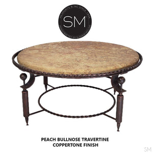 Travertine Table -Round Coffee Table with Travertine Stone Top - Contemporary Iron Table Base-Mexports By Susana Molina -Mexports® Inc by Susana Molina
