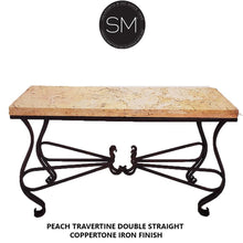 "Unique Iron Console table with Natural Travertine Stone Top-Console tables - Entryway tables-Mexports By Susana Molina -59"" x 19"" Double Straight-Peach Travertine-Dark Rust Brown-Mexports® Inc by Susana Molina"