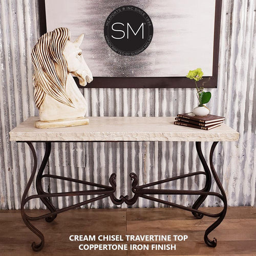 Unique Iron Console table with Natural Travertine Stone Top-Console tables - Entryway tables-Mexports By Susana Molina -59