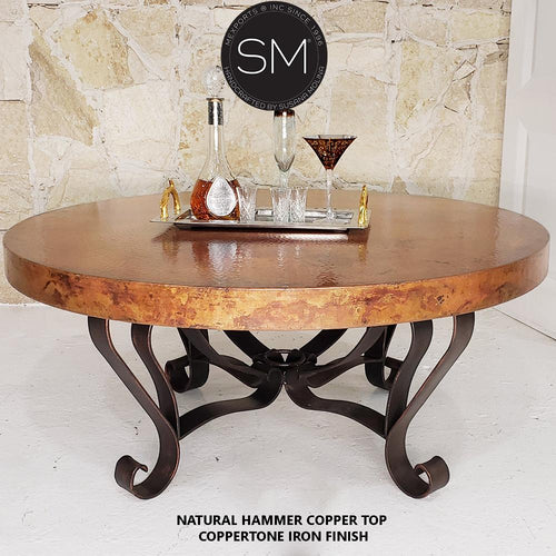 Unique Round Coffee Table- Hammered Copper Top w/ Wrought Iron Base - Mexports® Inc by Susana Molina