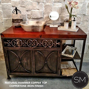 Vessel Onyx Marble Sink- Copper Counter Top Bathroom Vanity – Iron Cabinet with shelves - Mexports® Inc by Susana Molina