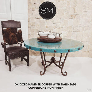 "Turquoise Patina Dining Table Oxidized Hammer Copper Top w/ Nailheads-Round Dining table-Mexports By Susana Molina -48""Rd-Natural Copper-Dark Rust Brown-Mexports® Inc by Susana Molina"