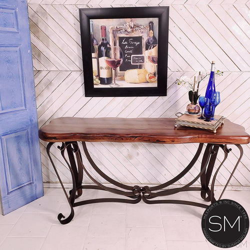 Western Console | Mesquite Wood | Wrought Iron Base-Mexports By Susana Molina -Mexports® Inc by Susana Molina