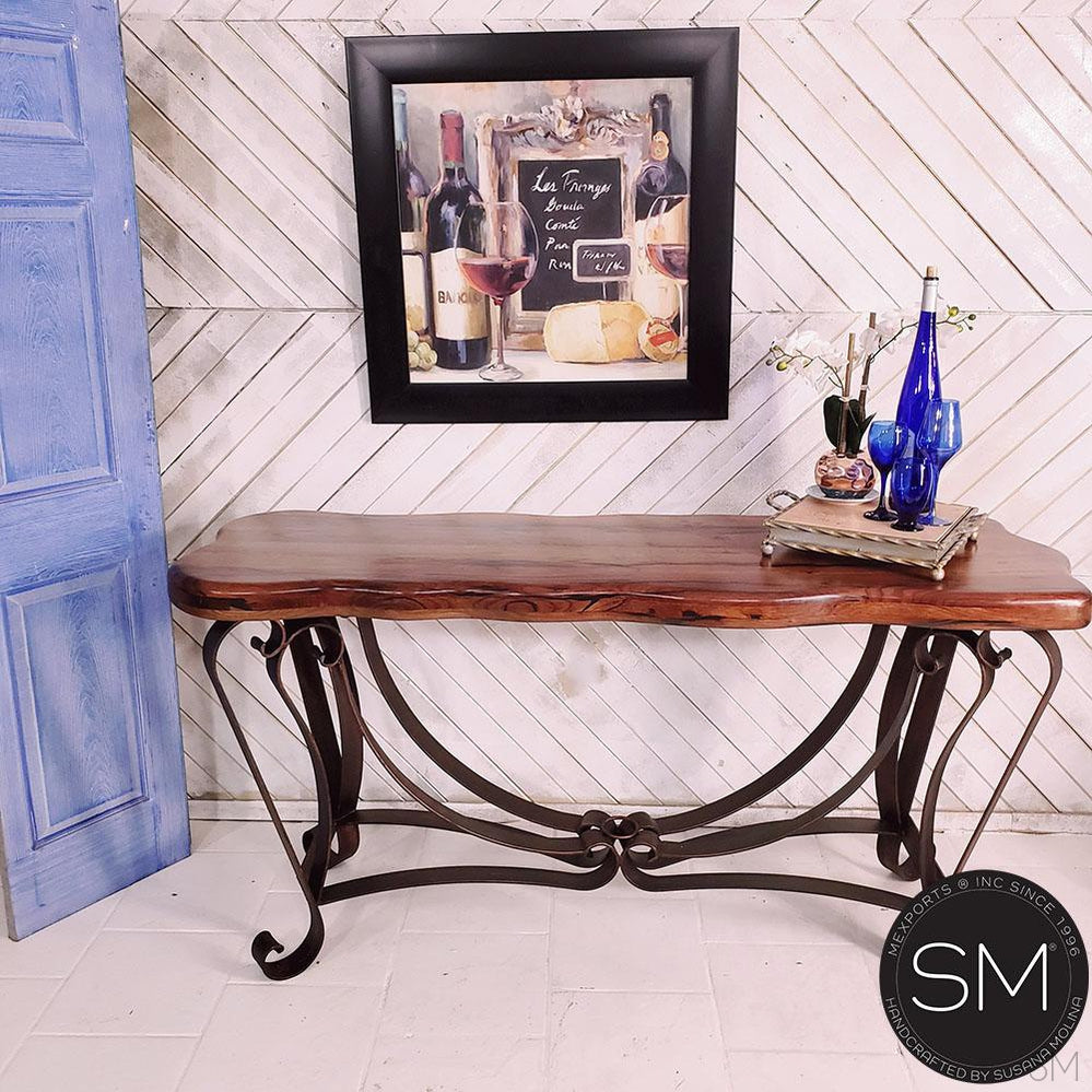 Western Console | Mesquite Wood | Wrought Iron Base-Console tables- Entryway tables-Mexports By Susana Molina -59