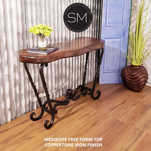 Western Decor Genuine Mesquite Wood Narrow Console-Mexports By Susana Molina-Mexports® Inc by Susana Molina