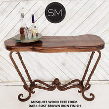 Western Decor Genuine Mesquite Wood Narrow Console-Console tables- Entryway tables-Mexports By Susana Molina-Turquoise-Rust Dark Brown-Mexports® Inc by Susana Molina