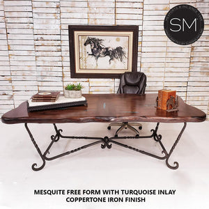 Western Desk Table Awe-Inspiring Rectangular Texas Mesquite Top - Mexports® Inc by Susana Molina