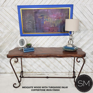 Western Large Console | Mesquite Wood and Wrought Iron - Mexports® Inc by Susana Molina